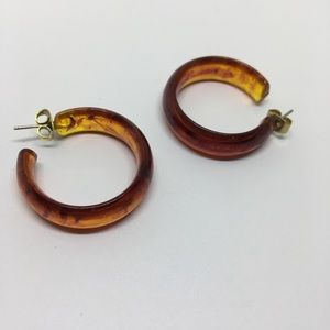 Amber resin hoop earrings vintage retro tortoise